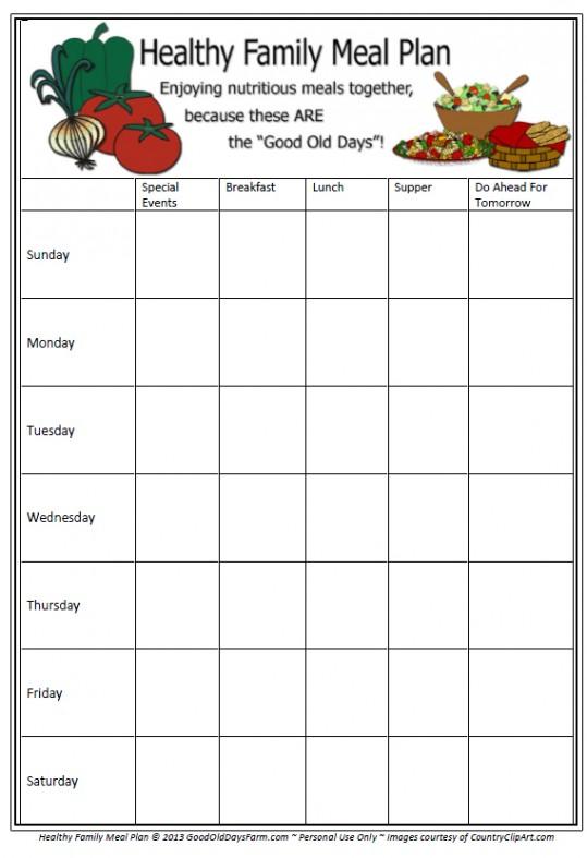 Meal Planning Printable ~ www.happyunconventionallife.com