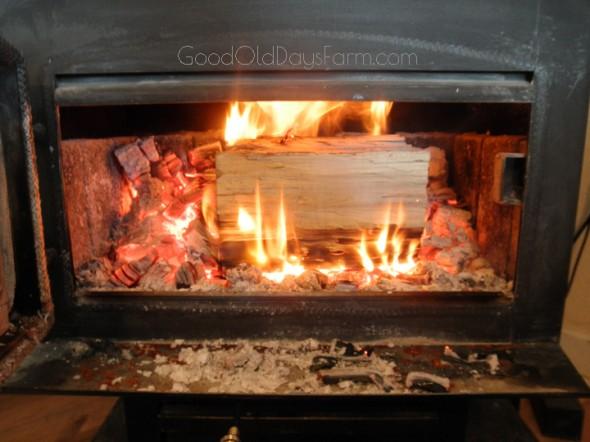 Warming by the fire ~ GoodOldDaysFarm.com