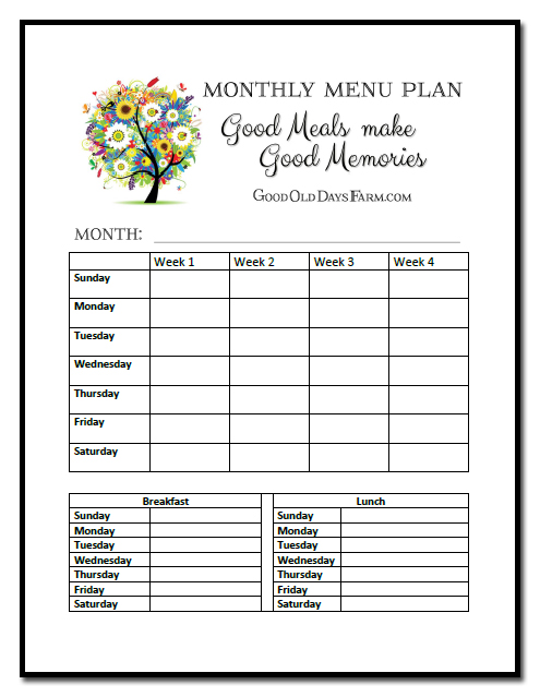 Free Monthly Menu Planning Printable GoodOldDaysFarm.com