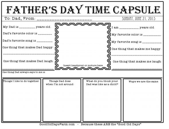 FREE Father's Day Time Capsule Printable