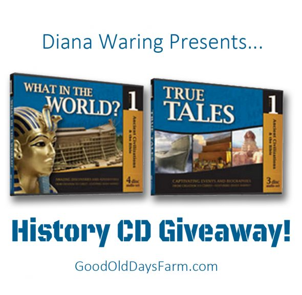 Here's a fun giveaway for history curriculum CD's by Diana Waring. These are entertaining stories whether you homeschool or not.